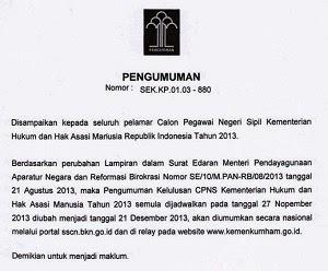 Pengumuman Kelulusan CPNS Kemenkumham Tanggal 21 Desember 2013