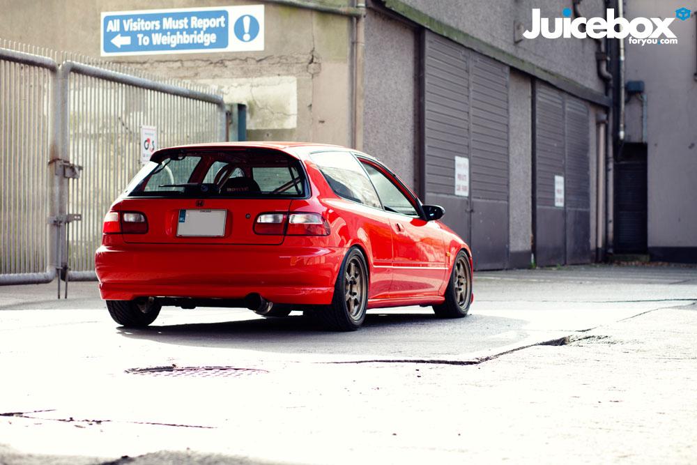 czerwona, Honda Civic 5-gen, EG, hatchback, 3-drzwiowa, tył, samochody do tuningu, auta z wysokoobrotowymi silnikami, VTEC kicking in, zdjęcia, jdm style, fotki
