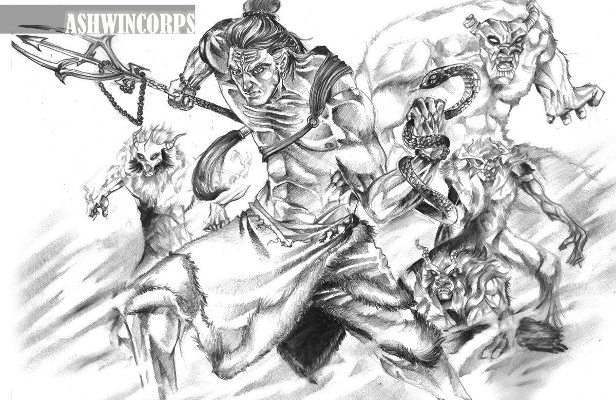Lord Shiva Angry Concept #1 shows shiva with