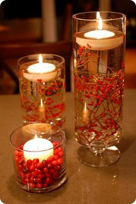 Christmas centerpiece with red berries