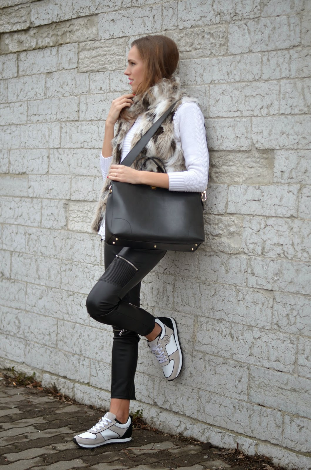 armani-sneakers-zara-leather-trousers-furla-black-bag kristjaana mere