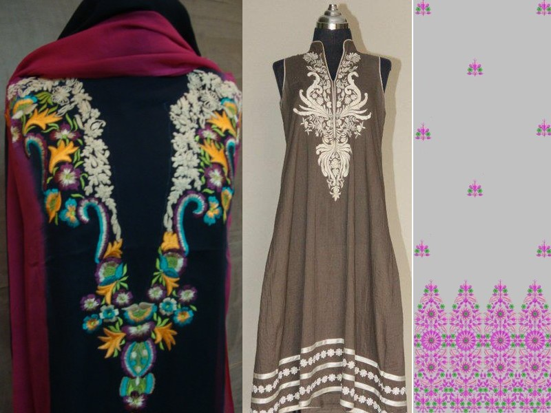 Embroidered neckline designs 3d panels design Fashion embroidery designs