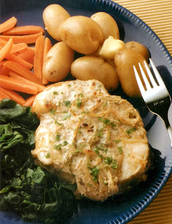 Aromatic cod: Cod steaks cooked in spiced yoghurt served with new potatoes, carrots and greens
