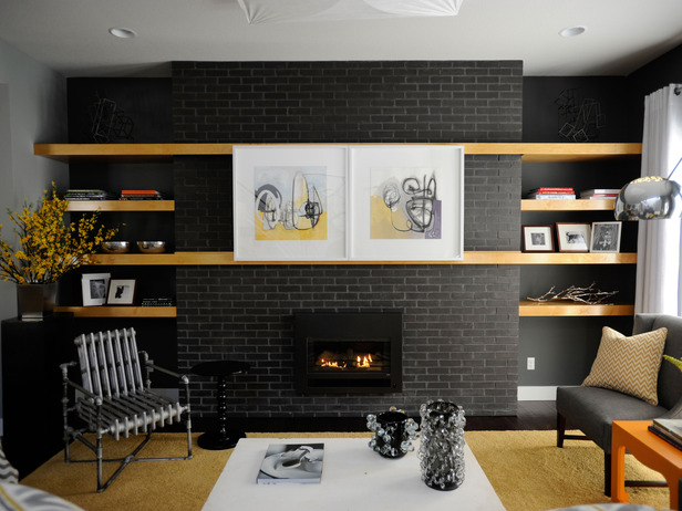 Painted Brick Fireplace with TV