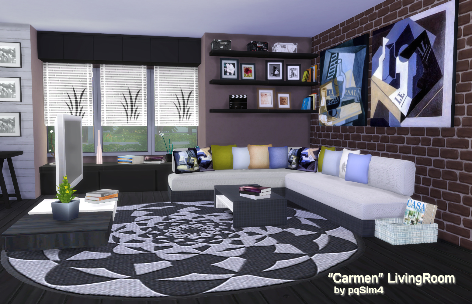My sims 4 blog carmen living room set by pqsim4 for Salon moderne sims 4