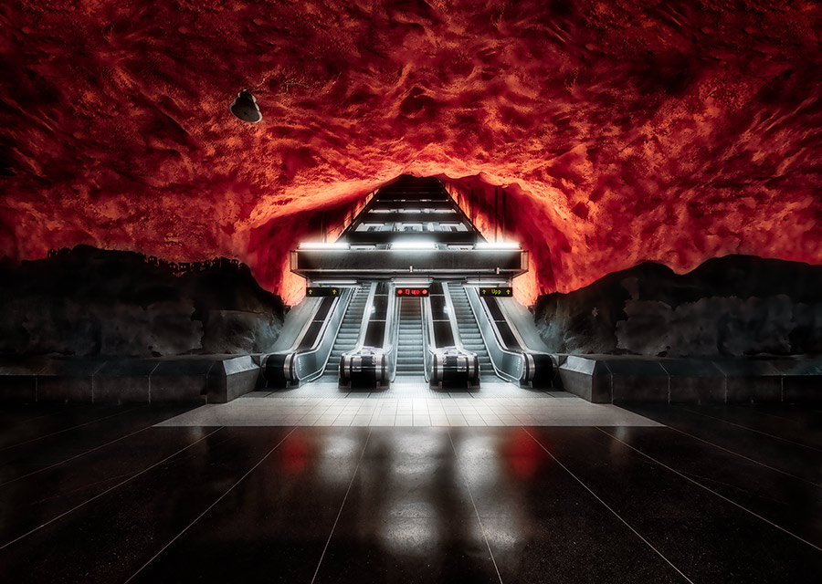 HDR, tunnel,metro,subway,deep,red,black