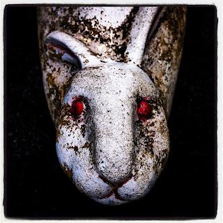 Vampire rabbit statue
