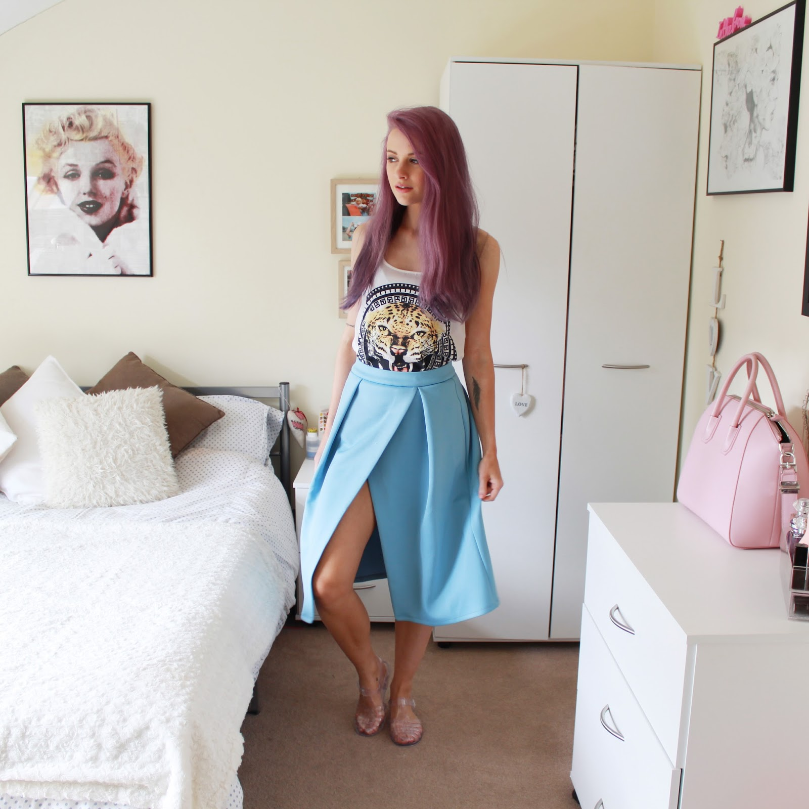 ASOS Crossover Midi Powder Blue Skirt