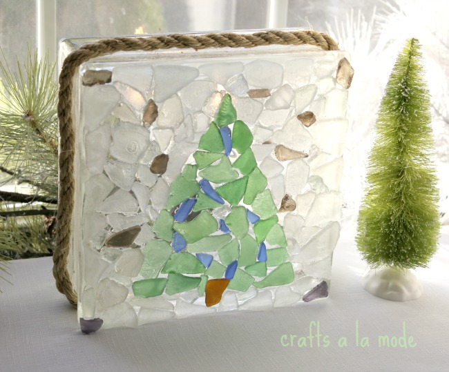 Sea Glass Christmas Tree Glass Block | Crafts a la mode