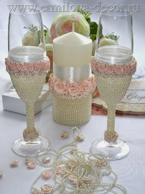 Бокалы на свадьбу своими руками мастер класс