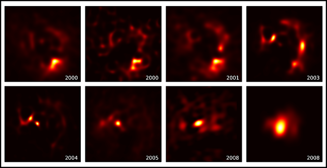 High angular resolution images of CW Leo spanning more than eight years. Source: Paul Stewart and Peter Tuthill, University of Sydney.