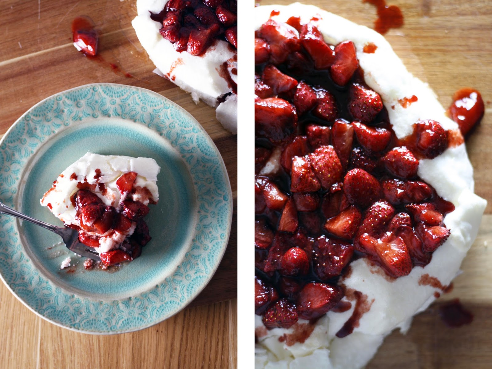 Passover Pavlova with Maple Roasted Strawberries | Sevengrams