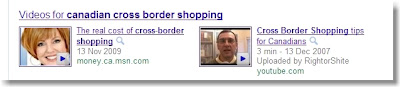 Canadian cross-border search results