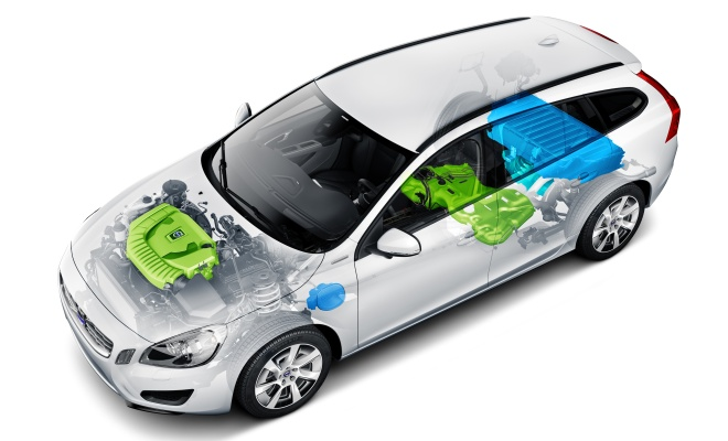 Volvo V60 cutaway showing engine, fuel tank and battery