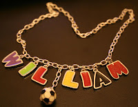 Name necklace: sterling silver, enamel charms :: All the Pretty Things