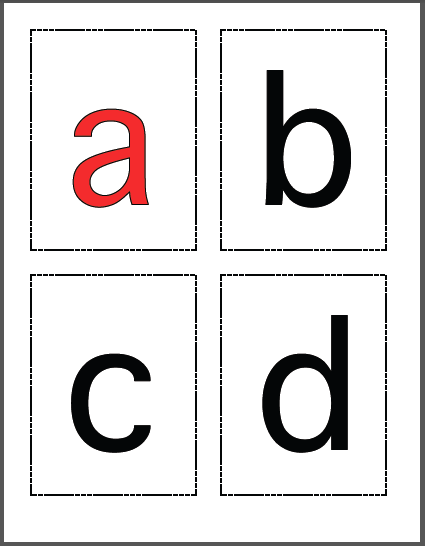 lowercase alphabet black with red vowels