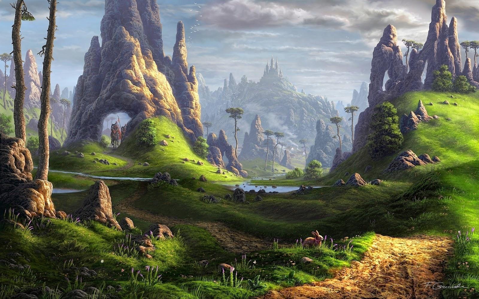 Sfondo+paesaggio+fantasy+foresta+guerrie