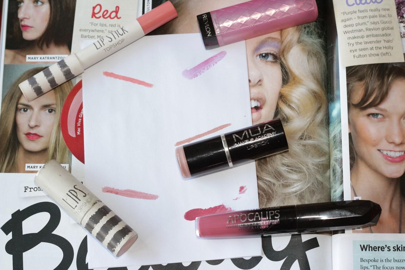 Topshop, Rimmel, Revlon, MUA Lipstick Swatches