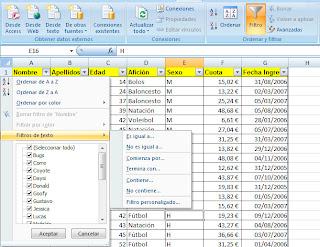 Filtrado de registros en bases de datos excel