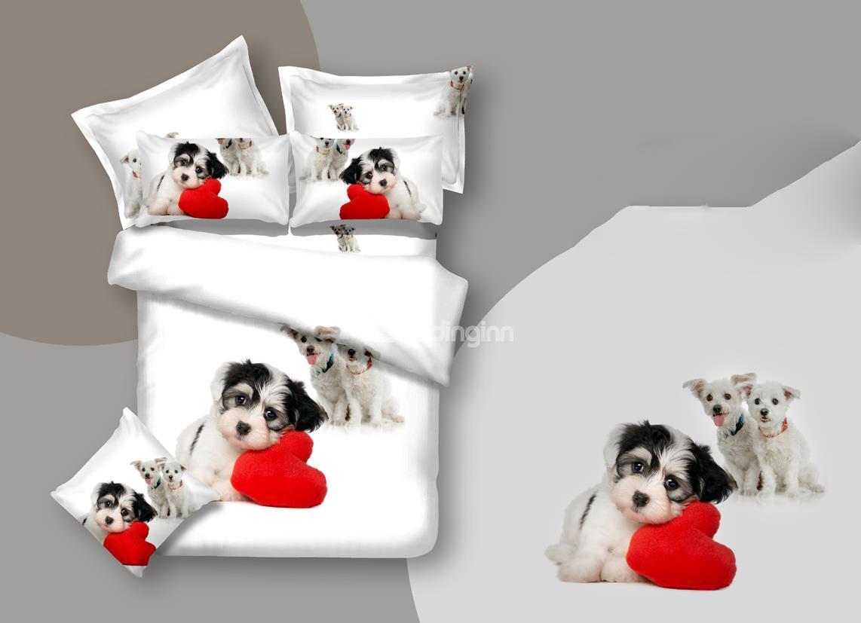 Thinking dog and heart bedding set at Beddinginn