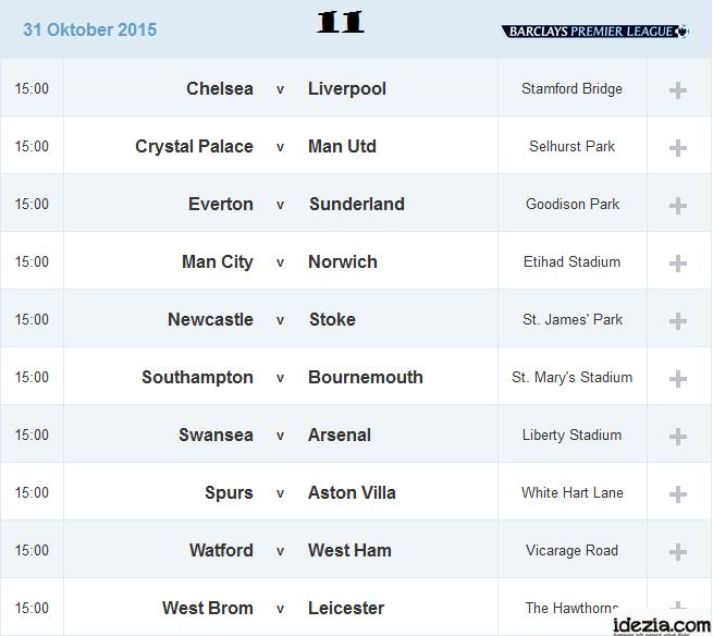Jadwal Liga Inggris Pekan ke-11 31 Oktober 2015