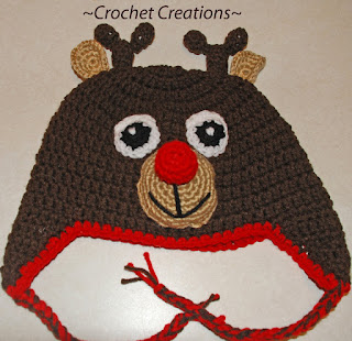 Crochet Rudolph Reindeer Ear flap Child hat