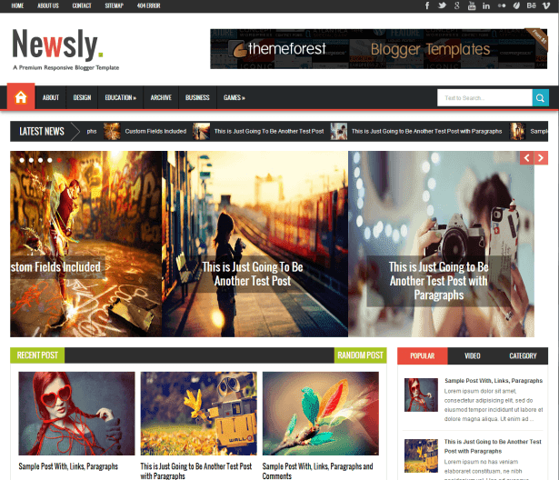 Newsly - Responsive Blogger Template