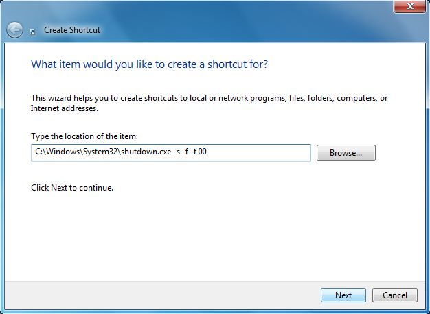 Shortcuts dialog box Screenshot