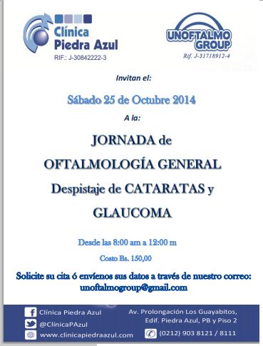 Jornada de oftalmolog a general despistaje de cataratas y for Casa clasica baruta