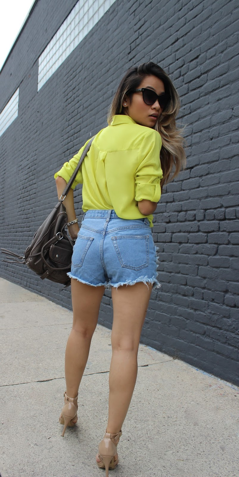 boyfriend shorts, melba nguyen, celine sunglasses, forever21 nude heels, ombre hair, fall fashion, sole trekking, new york fashion week, vietnamese fashion blogger