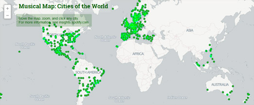 Maps mania the five best spotify maps spotify has created a map of the most distinctive songs being listened to in thousands of cities around the world spotifys music map allows you to click gumiabroncs Image collections