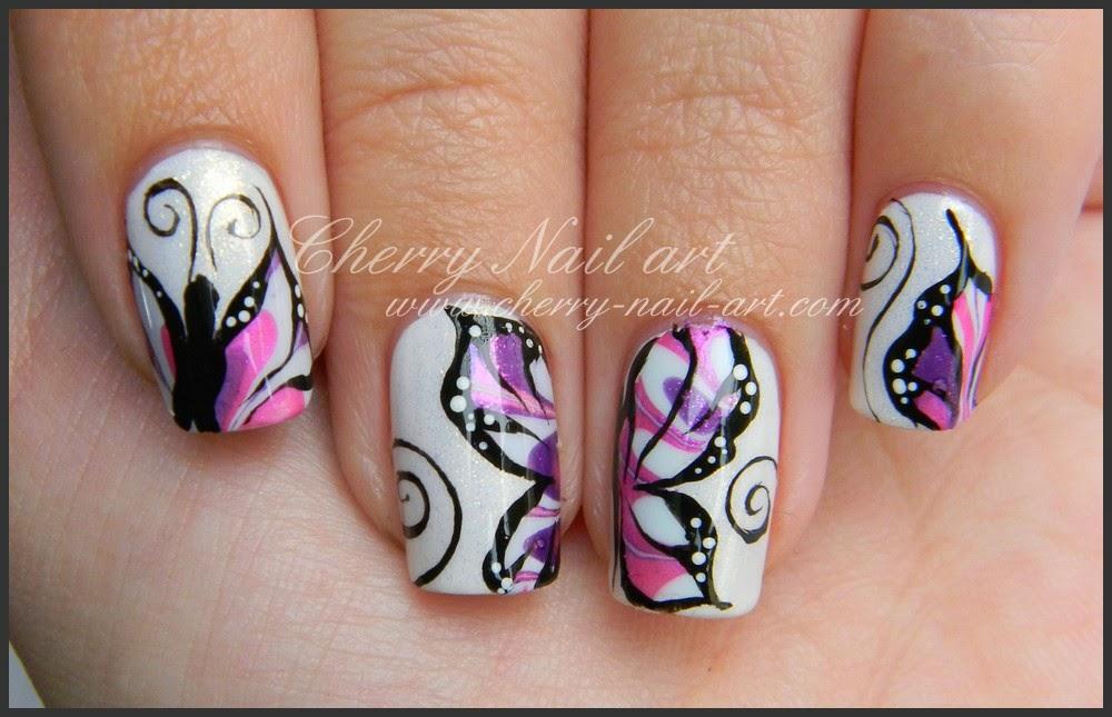 nail art water marble papillon defi