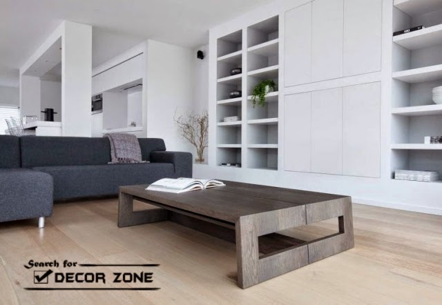 Large Solid Wood Coffee Table In Modern Living Room