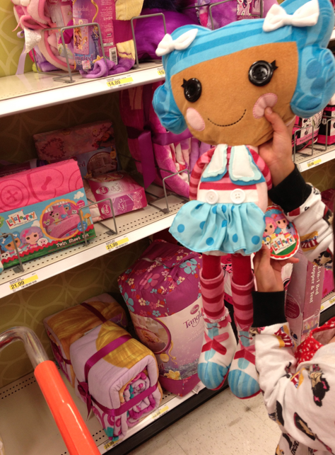 Next we found some cool stuff in the little girls  room decor  aisle  Alani  like this La La Loopsie Stuffed Doll    we did not buy it  as we already  went to. Kandeeland  How we party down in Target