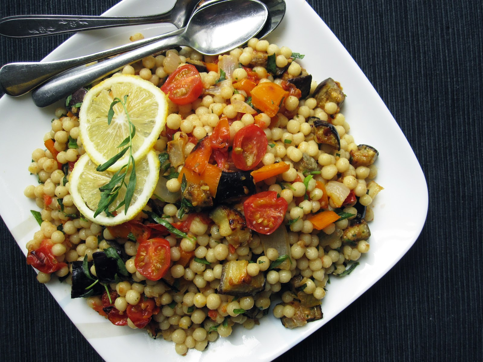 Edible biology: Israeli couscous with roasted summer vegetables