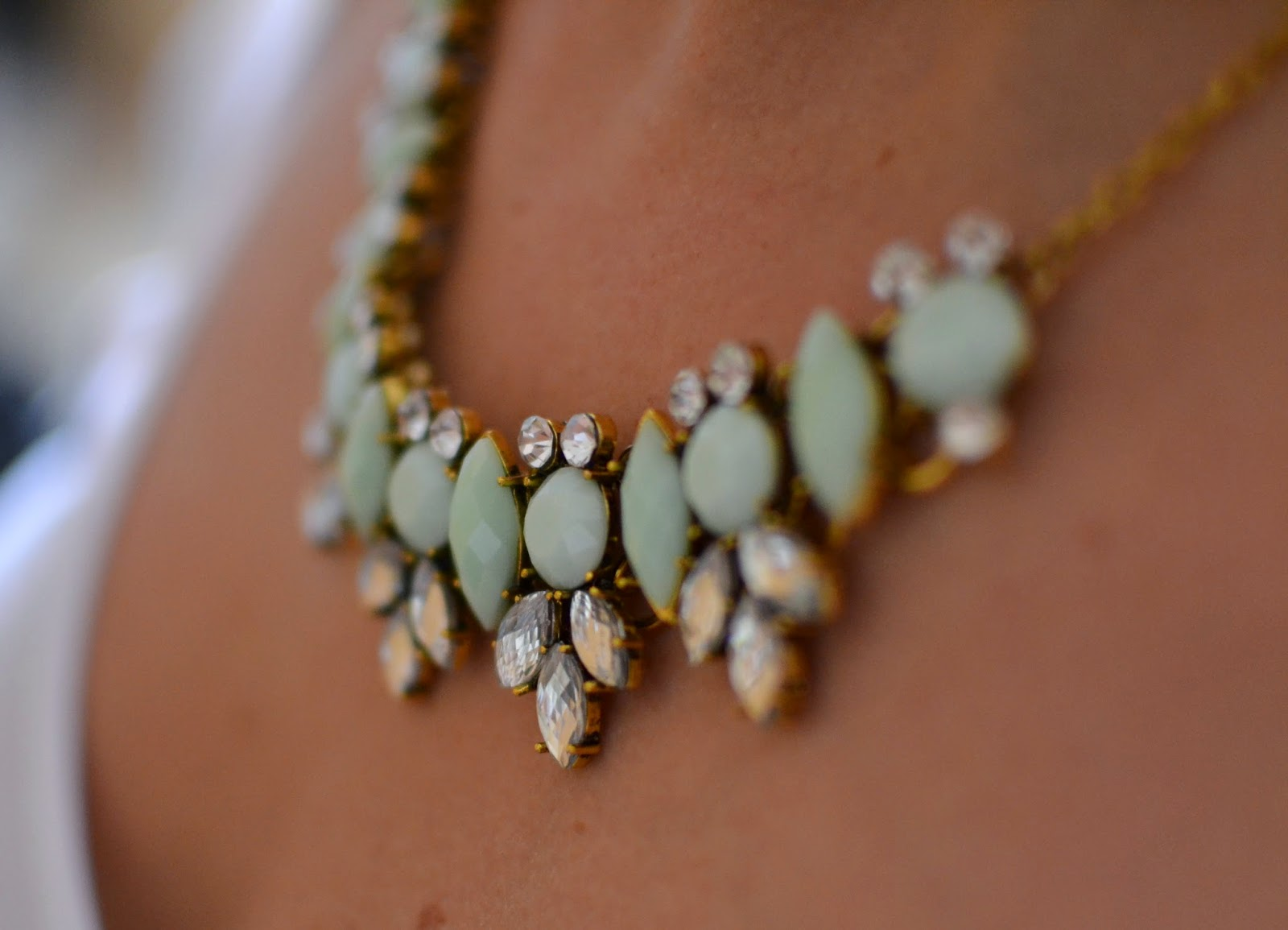 A picture of a Mint acrylic and glass necklace from JewelStreet