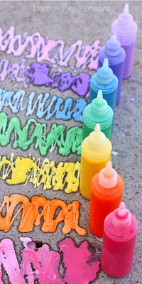 Easy recipe for rainbow sidewalk chalk paint - bonus:  it erupts!