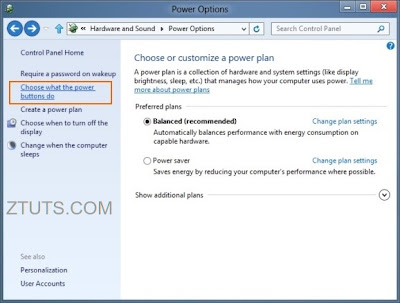 Define Power Buttons And Turn On Password Protection Windows 7