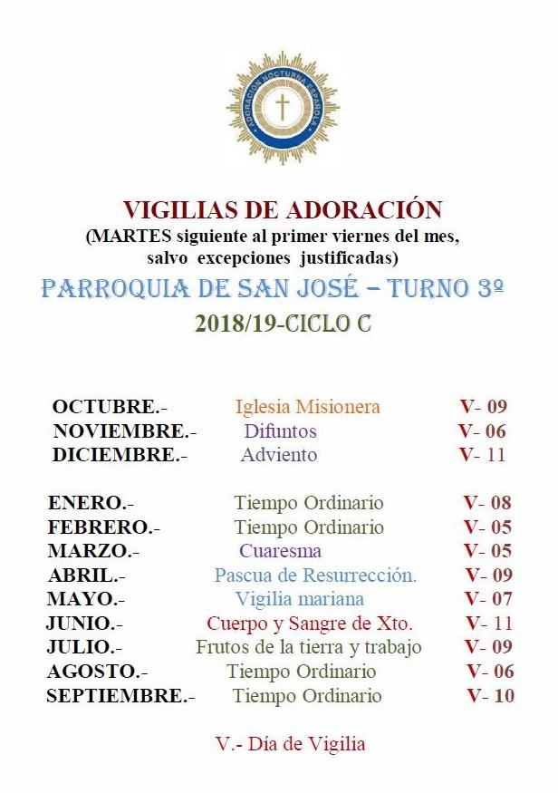 CALENDARIO ANUAL DE VIGILIAS