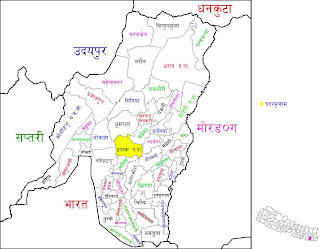 Map of Sunsari District