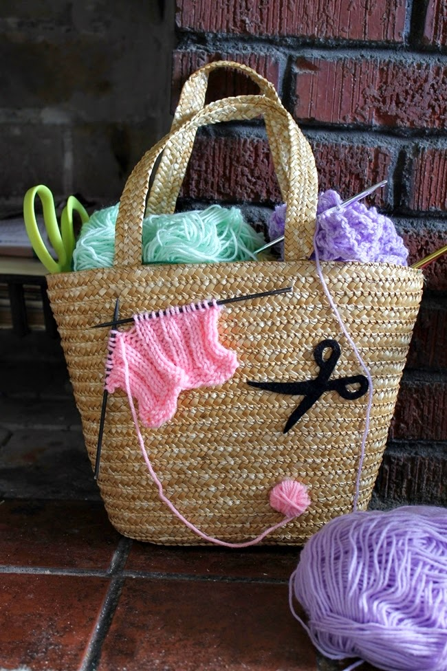straw knitting bag from wacky tuna on etsy via va voom vintage