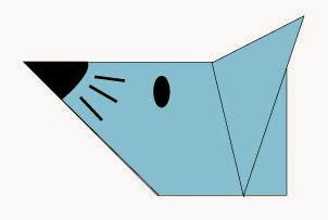 Bước 6: Vẽ mắt, mũi, râu chuột để hoàn thành cấp gấp mặt con chuột giấy.