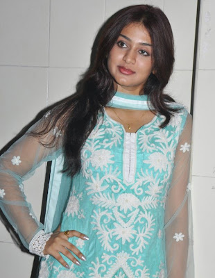 Cute Actress Varsha Ashwathi in Lucknowi Churidar Dress with Transparent Sleeves