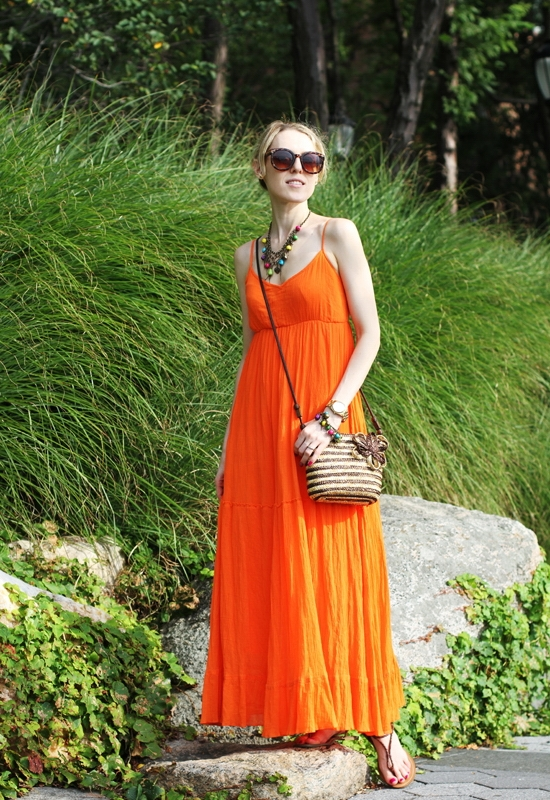 The Wind of Inspiration Outfit of the Day Post - Color Me Orange – Spiegel Orange Maxi Dress Ralph Lauren Alexa Sandals Polo Tan Leather Kelly & Katie Straw Crossbody Bag Kenneth Cole New York Women's Yellow Gold Watch Old Navy Women's Multi-Bauble Stretch Bracelet Old Navy Women's Multi-Bauble Chain Necklace Asos Oversized Retro Sunglasses Sinful Colors Professional 80 Dream On 930 I Miss You