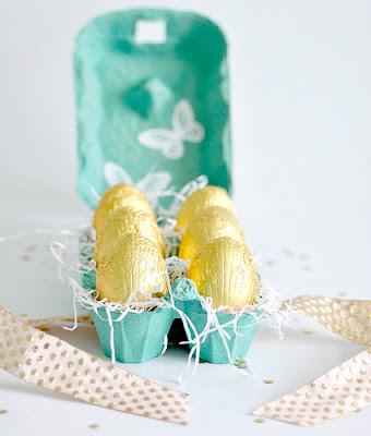 Reciclagem de embalagem de ovos para páscoa