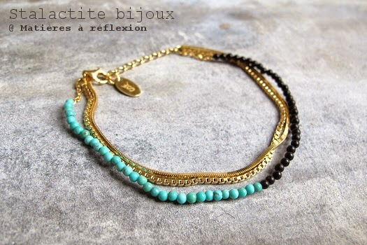 Bracelet turquoise onyx vermeil Stalactite bijoux