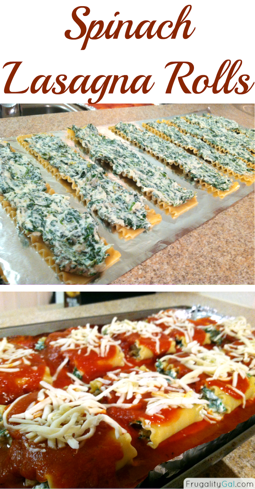 Easy recipe for spinach lasagna rolls. Freezes really well! Via www ...