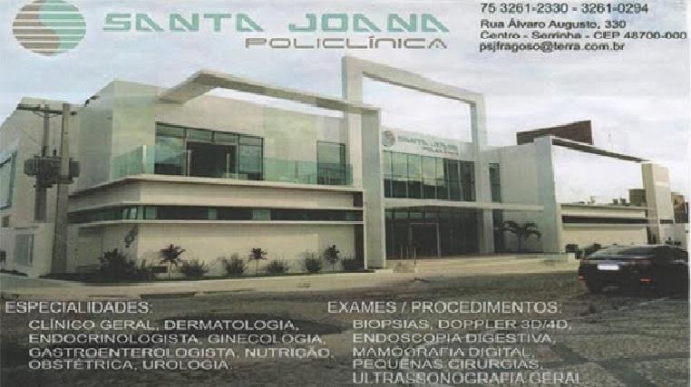 Santa Joana Policlínica - 75 3261-2330 ou 3261-0294