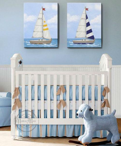 Baños Estilo Nautico:Cuartos para bebés estilo marinero – Colores en Casa
