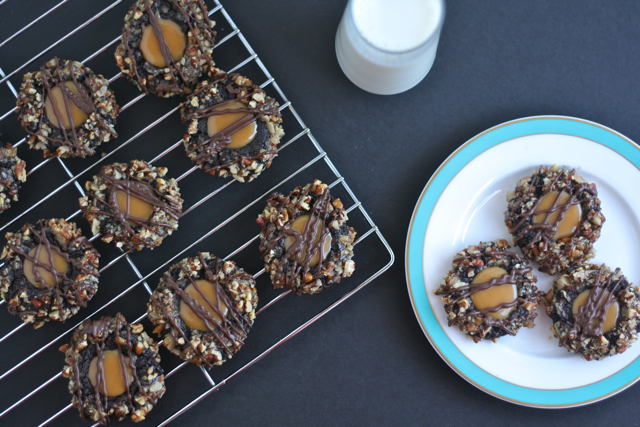 Chocolate Pecan Turtle Cookies